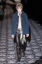 GUCCI Runway Mens Blue Coat Jacket Moleskin Thick Cotton Russian Rock Collection