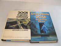 2 Arthur C Clarke Books Space Odyssey 2010 2061 Two Three 1st Ed. Hardcover