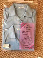 EX John Lewis Girls School Blouse  X 2 Blue Long Sleeve Age 11 BNWT