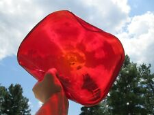 "Murano Art Glass Ruby Red 24k Gold Swirl Design Bowl Ground Base 10"" - 12"" + W"