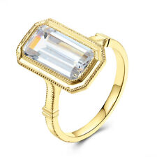 14K Yellow Gold Fashion Fine Jewelry Milgrain Ring Cubic Zirconia Emerald 12x6mm
