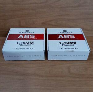 Lot Of 2 Spools Hatchbox ABS 1.75mm 3D Printer True White Filament