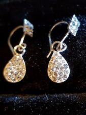 Diamond style Teardrop  Pendant 20mm earrings sterling silver