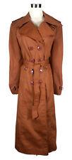 VINTAGE Trench Coat - 1970s/80s Long Jacket Retro Brown Button Wide Lapel 10/12
