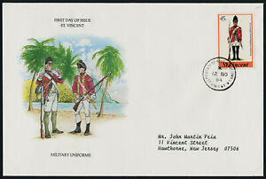 St Vincent 783 on addressed FDC - Military Uniforms
