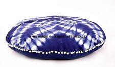 Indian Tie Dye Shibori Round Floor Pillow Yoga Ottoman Round Pouf Pom Lace Cover