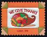 20 Mint Stamps Needlework Quilt Folk Art: We Give Thanks Cornucopia Thanksgiving
