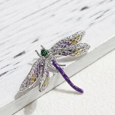 33fa531b08bf Broche Pin Plateado Arte Nuevo Pequeño Insecto Libélula Esmalte Morado  Amarillo