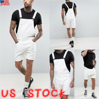 Mens Casual Denim Jeans Overalls Jumpsuit Dungarees Cargo Work Shorts Playsuit