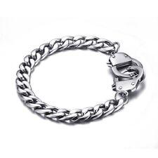 Male Men Silver Stainless Steel Handcuffs Bracelet Bangle Fashion Jewelry