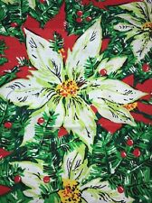 Poinsettia fabric Remnant Craft Cutter Quilt Holly Christmas AS IS
