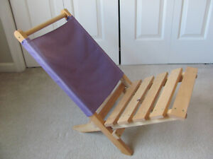 Hand made Canvas & Teak Beach/Camping/Events 2 Piece Portable Nesting Chair
