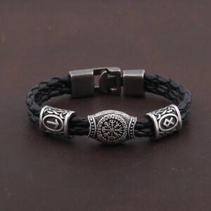 Unisex Viking Nordic Amulet Runes Beads - Black Bracelet Paracord - UK Seller