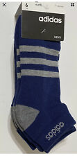 Adidas Men's Cushioned 6-Pair Low Cut Socks Blue/White/Gray -NEW FREE SHIPPING
