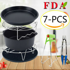 7Pcs Air Fryer Set Chips Accessories Baking Basket Pizza Pan Home Kitchen Tool