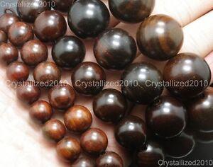 Natural Mahogany Wood Round Ball Beads 10mm 12mm 15mm 18mm 20mm Healing Bracelet