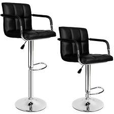 2 Tabourets de bar chaise fauteuil bistrot réglable siège design cuisine noir