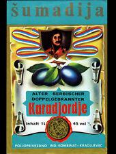 "ETIQUETTE Chromo ANCIENNE d'ALCOOL DE PRUNE ""SUMADIJA"" KARADJORDJE"