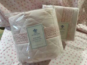 Simply Shabby Chic Pink Quilted Euro Sham Pair. Crochet Trim. New Open Pkg