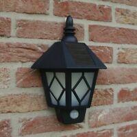 Solar Powered PIR Motion Sensor Wall Light Bright White LED Patio Garden Lantern