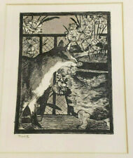 "Edouard Manet Etching ""Cat with Flowers"" 1869 Framed Matted Plate Signed NOS"