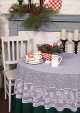 """Tablecloth 70"""" Round - Holly Vine in White by Heritage Lace - Christmas"""