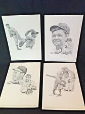 4 1960s Sports Print Baseball Pictures Robert Riger Drawing Babe Ruth Kids ++