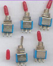 5 X MINIATUR-KIPPSCHALTER 2xUM  3A 250V  mit rot. Kappe