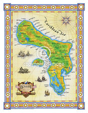 "19.5 x 25"" Bonaire Vintage Look Map Poster Printed on Frenchtone Parchment Paper"