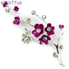 NEW LARGE SILVER BLOSSOM FLOWER DIAMANTE CRYSTAL BROOCH WEDDING GIFT BROACH UK