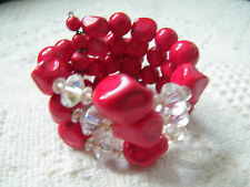 Beautiful Wrap Cuff Bracelet Red AB Clear Plastic Beads 1 5/8 Inch Wide CUTE