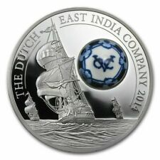 2014 $10 Cook Islands Dutch East India, Delft Porcelain 50gram 999 Silver Coin
