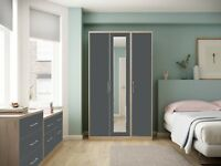 Ready Assembled Melrose High Gloss Grey Wardrobe Complete Bedroom Furniture Set