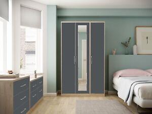 Ready Assembled Melrose High Gloss Grey Wardrobe Complete Bedroom Furniture Set