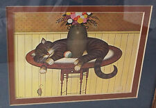 "Vintage ""Sleeping Cat on Table w/Toys""Signed/Matted/Framed-12 1/2 X 10 1/2"""