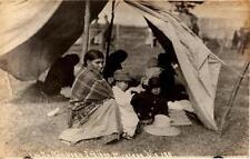 Original ~1910 Lac Du Flambeau Indians Minocowa Wisconsin real photo postcard