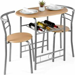 3 Piece Wooden Round Table & Chair Set for Kitchen Dining Room Built-in Wine Rac
