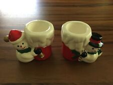 Lot of 2 Christmas Candle Holders - Snowmen - Good Condition