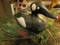 Large ANTIQUE WOODEN LOON DECOY Black White ~ Yellow GLASS EYES