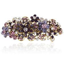 Purple Rhinestone Crystal Flowers Barrette Gold Tone Hair Clip Party Gift