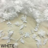Lace Mesh Fabric Embroidered Floral 3D Flower Trims Material Wedding Dress Fairy