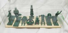 yoga joes NIB 9 green army men poses on bamboo mat toy display zen military