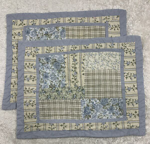 Set of 2 Blue Cream STANDARD PILLOW SHAMS Patchwork Floral Cottage Farmhouse