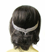 Silver Diamante Bridal Headpiece Hair Vine Headband Rhinestone Vintage 20s 1377