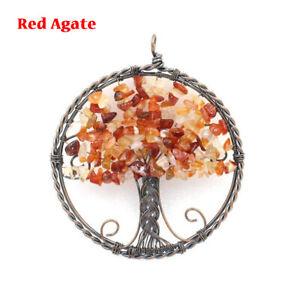 Natural Crystal Quartz Tree of Life Gravel Stone Pendant Reiki Chakra Yoga