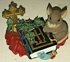 Charming Tails Mouse Figure Words To Live By Fitz & Floyd Bible Cross Christian