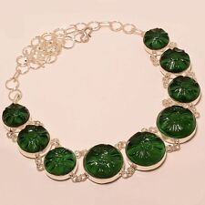 "DELIGHTING CHROME DIOPSIDE GEMSTONE Jewelry NECKLACE 18"" EX-N28"