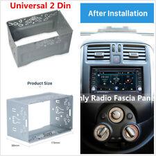 Silver 2-Din Car Stereo Radio Dash Mounting Frame Kit Installation Mounting Trim