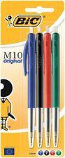 BIC M10 Original Stylos-Bille - Rouge, Couleurs Assorties, Blister de 4