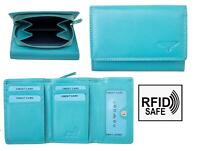 Nevaeh Heavenly Accessories Ladies Small Turquoise Leather Trifold Purse RFID
